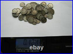 1.342 KG of assorted GB and world silver coins scrap or collect