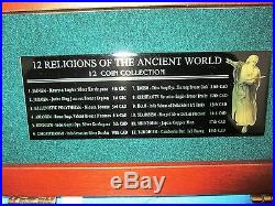 12 RELIGIONS OF THE ANCIENT WORLD 12 Bronze & Silver Coins Collection with COA