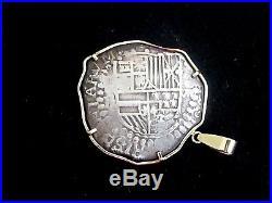 14k Gold Pendant Shipwreck Spanish 8 Reales Silver Coin Potosi Grade 1 Authentic