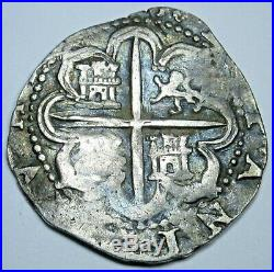 1500's Spanish Silver 1 Reales Piece of 8 Real Colonial Pirate Treasure Cob Coin