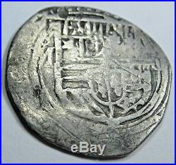 1500s Spanish Silver 1 Real Piece of 8 Reales Colonial Pirate Treasure Cob Coin