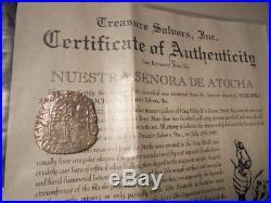 1598-1621 NUESTRA SENORA DE ATOCHA SHIPWRECK 8 REALES SILVER COIN WITH COA Grd 2