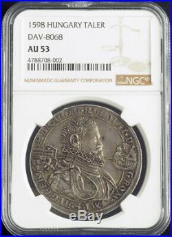 1598, Hungary, Rudolph II. Silver Thaler Coin. Nagybanya! Very Rare! NGC AU-53