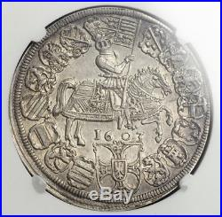 1603, Teutonic Knights, Maximilian III of Austria. Silver Thaler Coin. NGC AU50