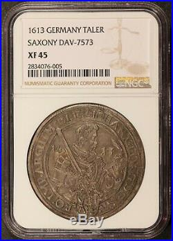 1613 Germany Saxony Taler Thaler Silver Coin DAV-7573 NGC XF 45 KM# 44