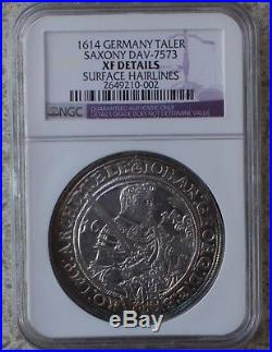 1614 Silver TALER Germany Saxony NGC XF Details DAV-7573 German Thaler Coin
