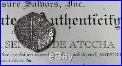 1620's SILVER ATOCHA GRADE 2 SHIPWRECK MEL FISHER SALVAGE BOLIVIA 8 REALES COIN