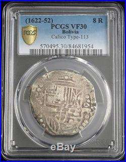 1622/1627, Bolivia, Philip IV. Silver 8 Reales Cob Coin. Rare Variety! PCGS VF30