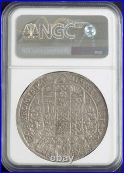 1650, Saxony, John George I. Large Silver Thaler (Rix Dollar) Coin. NGC AU-53