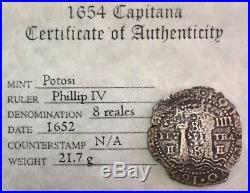 1652 P Silver Potosi Transitional 8 Reales Cob Salvage Treasure La Capitana Coa
