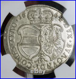 1664, Austria, Archduke Sigismund Francis. Silver 15 Kreuzer Coin. NGC AU-58
