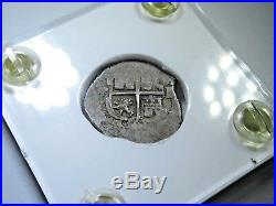 1669 Spanish Silver 1 Real Cob Piece of 8 Reales Colonial Pirate Treasure Coin