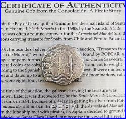 1678 Silver 8 Reales Cob Pirate Shipwreck Salvaged Treasure 1681 La Consolacion
