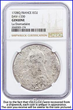 1700-1762 France Silver Ecu Shipwreck La Dromadaire NGC Genuine SKU56297