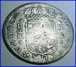 1721 Spanish Silver 2 Reales Piece of 8 Real Colonial Era Pirate Treasure Coin
