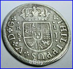 1726 Spanish Silver 1 Real Piece of 8 Reales Colonial Era Pirate Treasure Coin