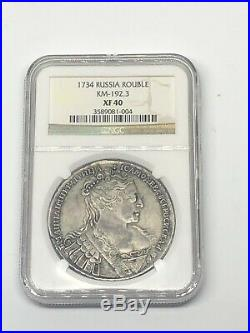 1734 Russia Rouble NGC XF 40 SILVER World Coin EXTREMELY RARE TYPE