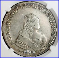 1753, Russia, Empress Elizabeth I. Large Silver Rouble Coin. Moscow! NGC XF-40