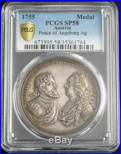 1755, Emperor Francis I Stephen. Silver Peace of Augsburg Medal. PCGS SP-58