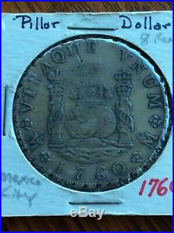 1760 Mexico, Mexico CityLarge Colonial Silver 8 Reales (Pillar Dollar) Coin