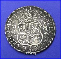 1769 MEXICO 8 REALES CAROLUS III 8R MF silver MO ORIGINAL TONED PILLAR DOLLAR