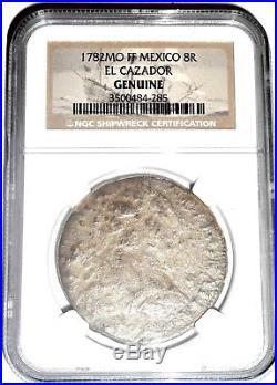 1782 MO FF Mexico 8 Reales El Cazador 8R Shipwreck Coin, NGC Certified, Very Good