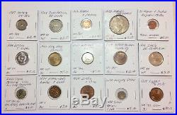 1800s-1900s World Lot of 150 Carded Coins with Silver & BU-AU & Key Dates-Lot 7