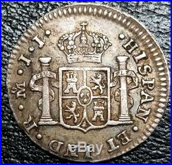 1813 JJ 1/2 Real Mexico Colony Milled Bust King Ferdinand VII World Silver Coin