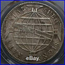 1814 R Brazil Large Crown Silver 960 Reis AU 50 PCGS South America World Coin