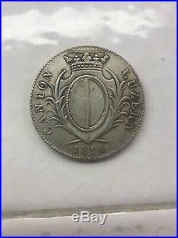 1814, Switzerland, Lucerne (Canton). Silver Thaler (4 Franken) Coin. PCGS AU-55