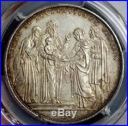 1831-B, Vatican, Gregory XVI. Silver Presentation of Jesus Scudo. PCGS AU-58
