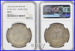 1837, South Peru (Republic). Large Silver 8 Reales Coin. Cuzco mint! NGC AU-53
