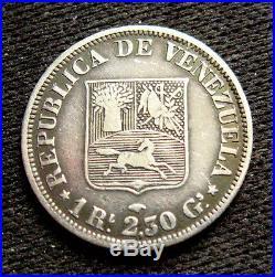 1858 Venezuela Real Silver Fine+ Rare Type