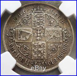 1865 Silver Great Britain Florin Queen Victoria Gothic Head Ngc Very Fine 35