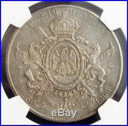 1866, Mexico (Empire), Maximilian I of Austria. Rare Silver Peso Coin. NGC AU55
