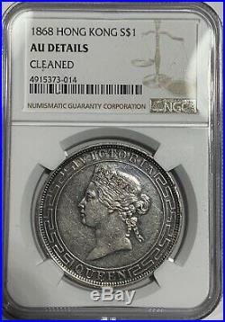1868 Hong Kong Dollar Silver Coin NGC AU