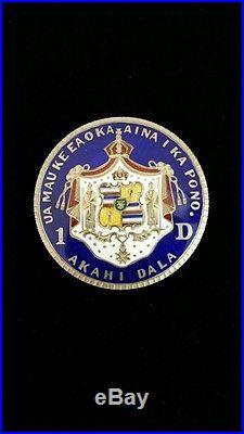 1883 Hawaiian Dollar Pin Enamel Very Rare Silver
