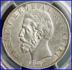 1883, Romania (Kingdom), Carol I. Beautiful Large Silver 5 Lei Coin. PCGS AU-53