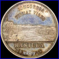 1892 Switzerland Basel Battle Dragon Silver Medal Gem Bu+ Pl Toned Pcgs & Ngc It