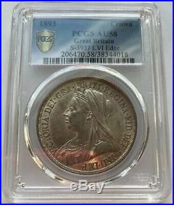 1893 Great Britain Queen Victoria Silver Crown PCGS AU-58 Conservatively Graded
