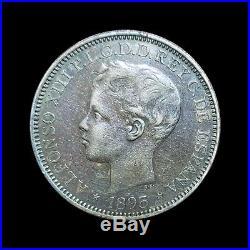 1895 Puerto Rico 1 Peso = 5 Pesetas Silver Coin