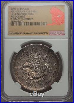1897, Empire China Kiangnan $1 L&M-210A Herringbone Edge, NGC AU Details Rare
