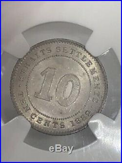 1899 Straits Settlements Victoria 10-C Cents Silver World Coin NGC MS-63 RARE