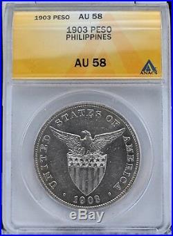 1903-P U. S. Philippines Silver Peso ANACS AU 58 Blast White Luster
