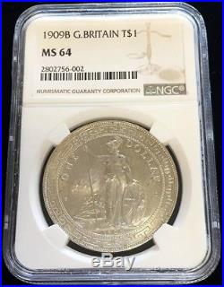 1909 B Silver Great Britain Empire Oriential Trade Dollar Coin Ngc Mint State 64