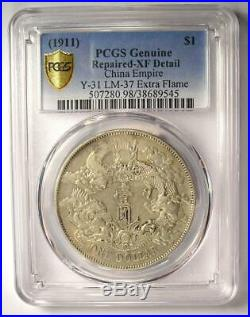 1911 China Empire Dragon Dollar $1 Coin LM-37 Certified PCGS XF Details