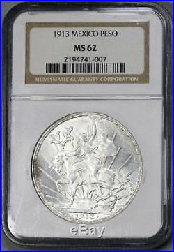 1913 MEXICO Silver Peso Mint State Coin NGC MS 62 (18031504D)