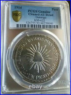 1914 Mexico un peso MUERA HUERTA Revolution coin! Scarce Variety PLAIN EDGE