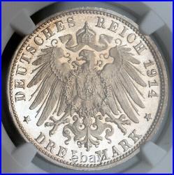 1914, Wurttemberg, William II. Proof Silver 3 Mark Coin. Dark Rainbow! NGC PF63