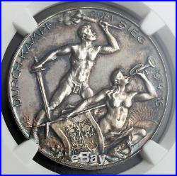 1916, Bulgaria/Turkey/Austria/Germany. Quadruple Alliance Silver Medal. NGC MS63
